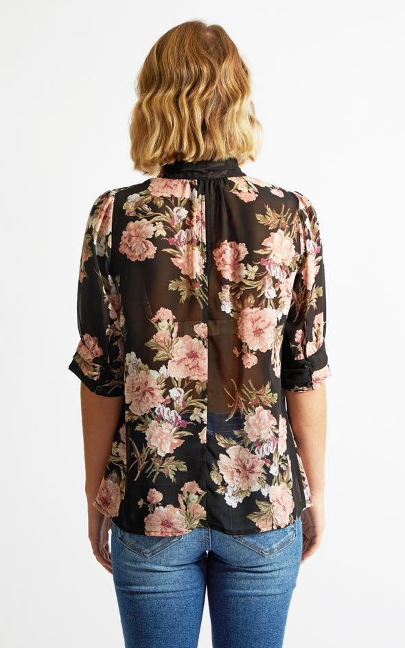 1/2 Sleeve Ruched Shirt Black Print