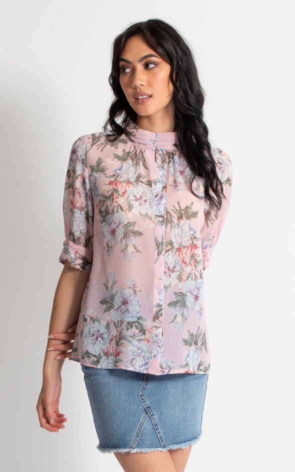 1/2 Sleeve Ruched Shirt Blush Print