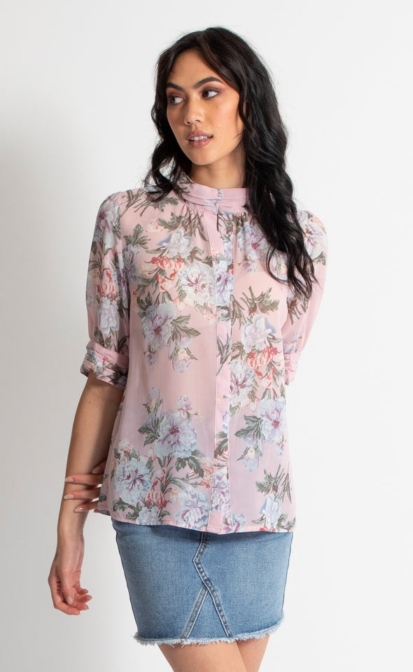 1/2 Sleeve Ruched Shirt