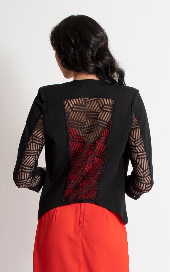 3/4 Lace Back Blazer Black