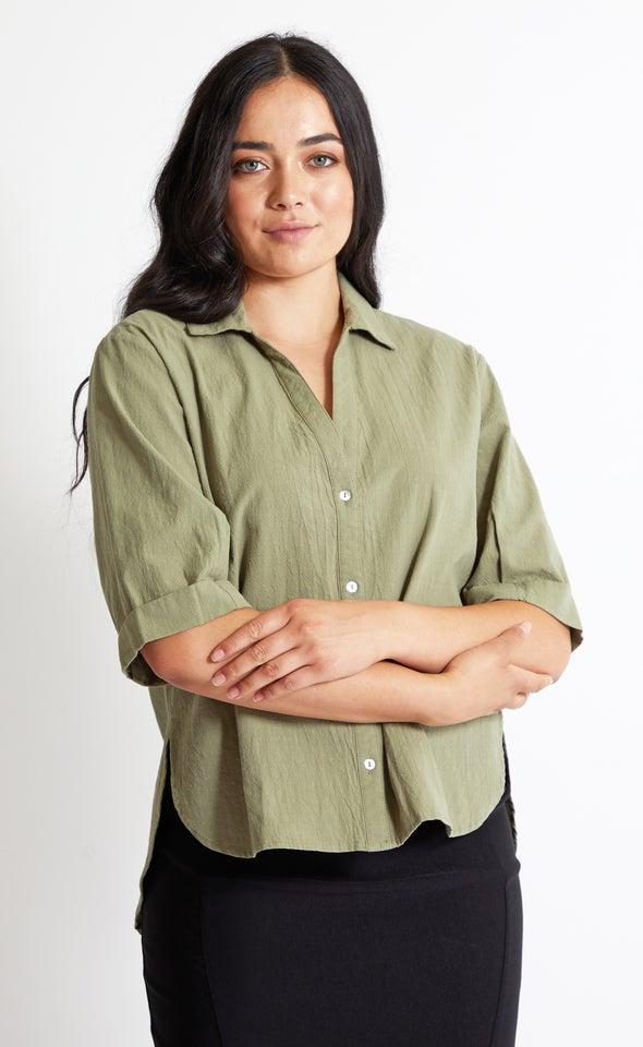 3/4 Sleeve Cotton Shirt Khaki