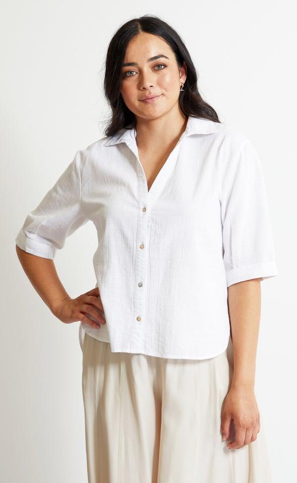 3/4 Sleeve Cotton Shirt White