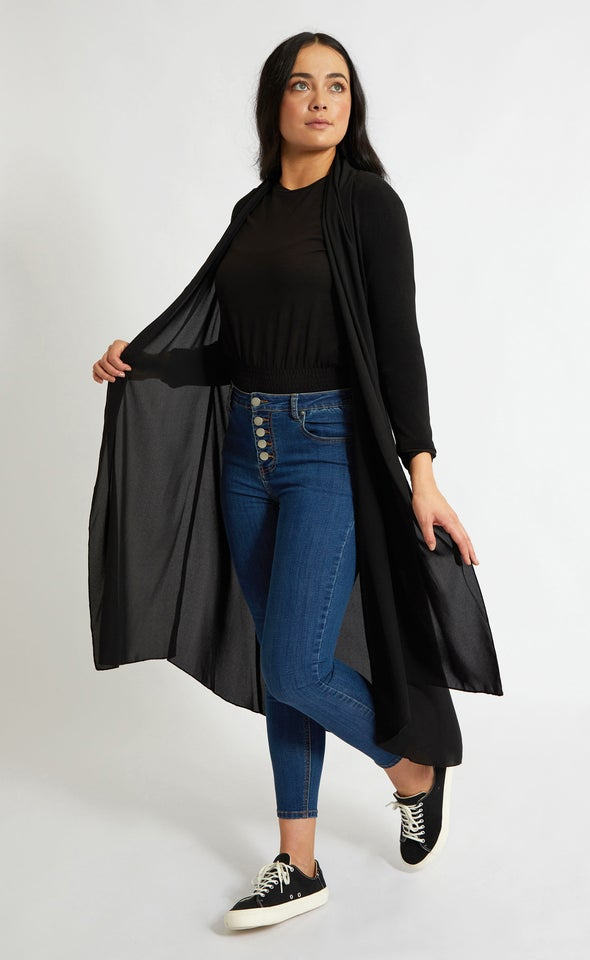 3/4 Sleeve Longline Chiffon Jacket Black