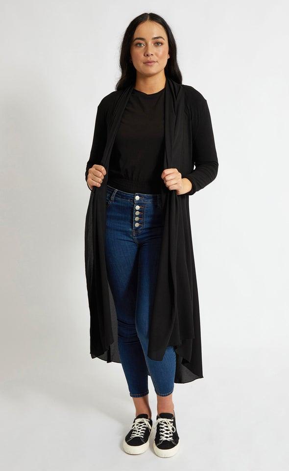 3/4 Sleeve Longline Chiffon Jacket