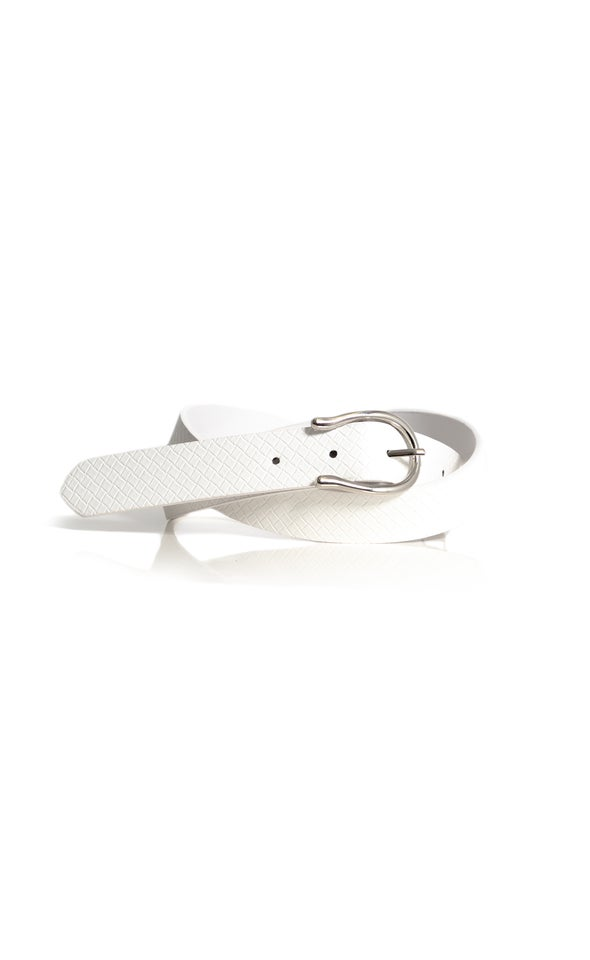 Abstract Buckle Belt Silver/white