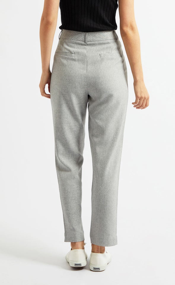 Angled Pocket Straight Leg Pants Blk/white