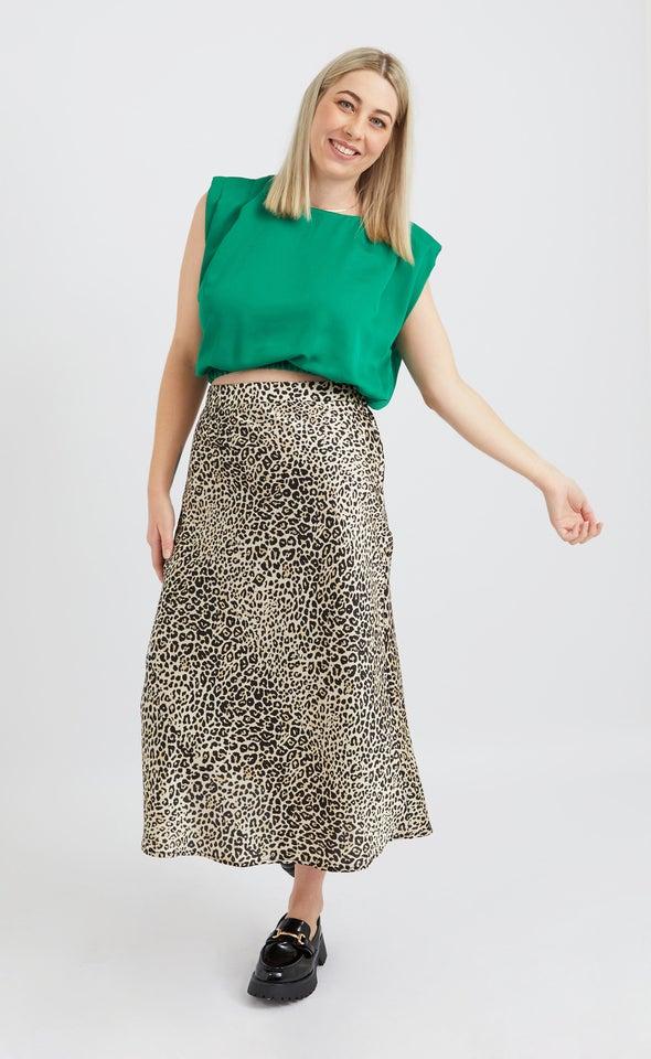 Animal Print Satin Midi Skirt