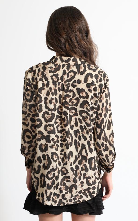 Animal Print Shirt Tan/blk