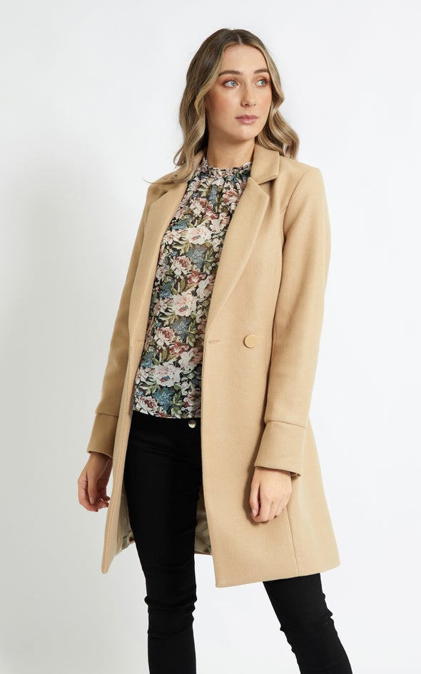 Belted Flare Coat Natural
