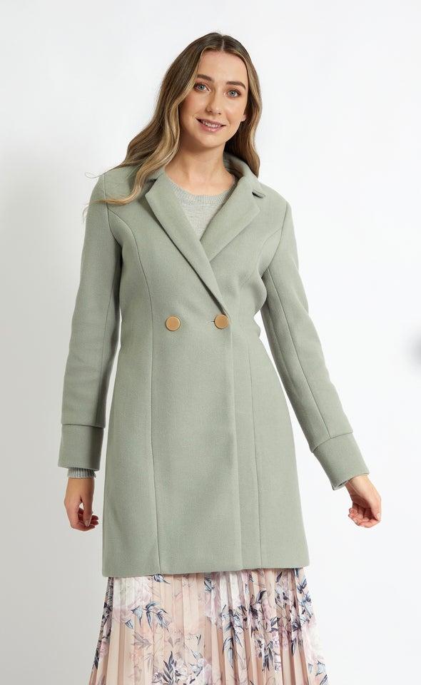 Belted Flare Coat Sage