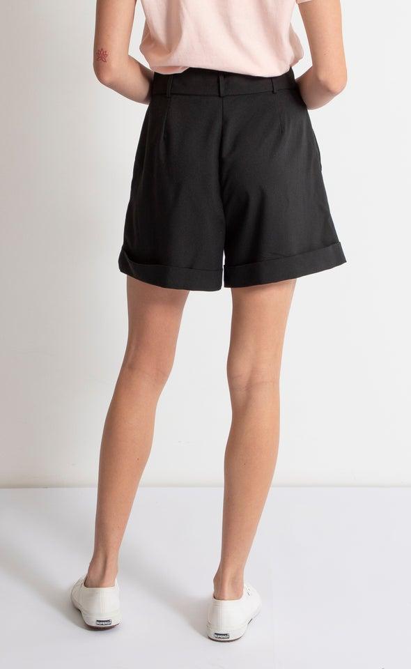 Belted Tailored Short Black