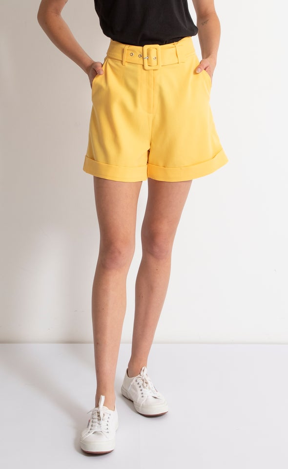 Belted Tailored Short Yellow