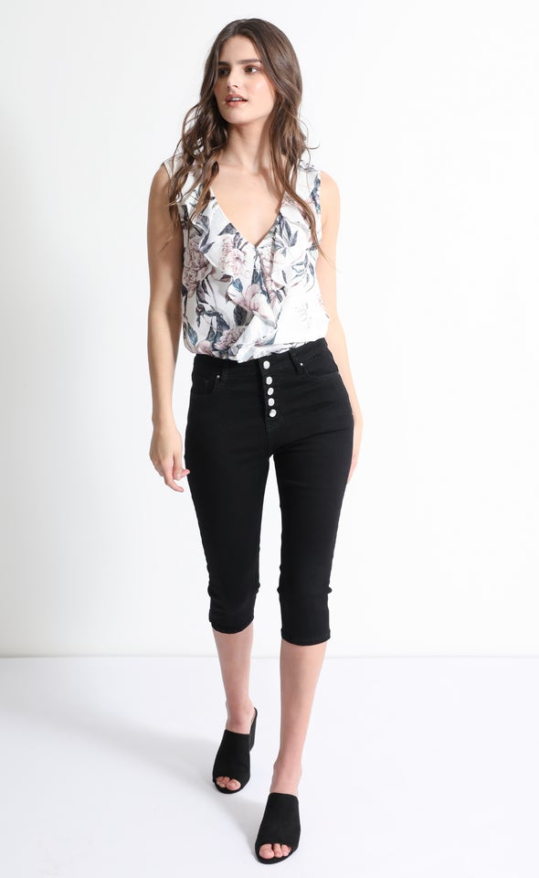 Black Button Fly Shorts Black