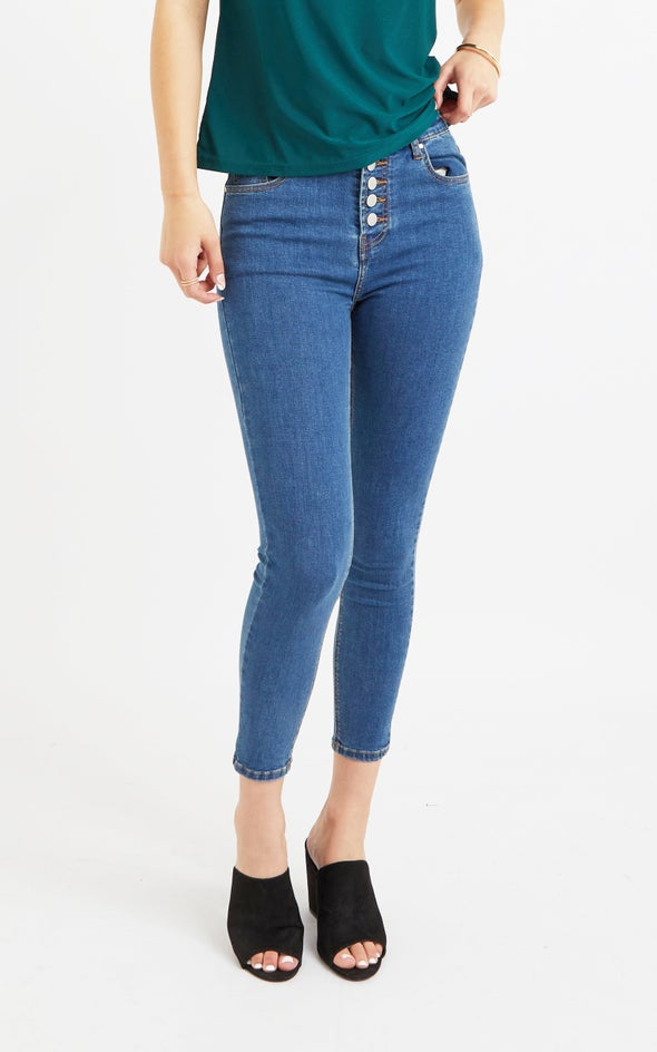 Blue Button Fly Skinnys Blue