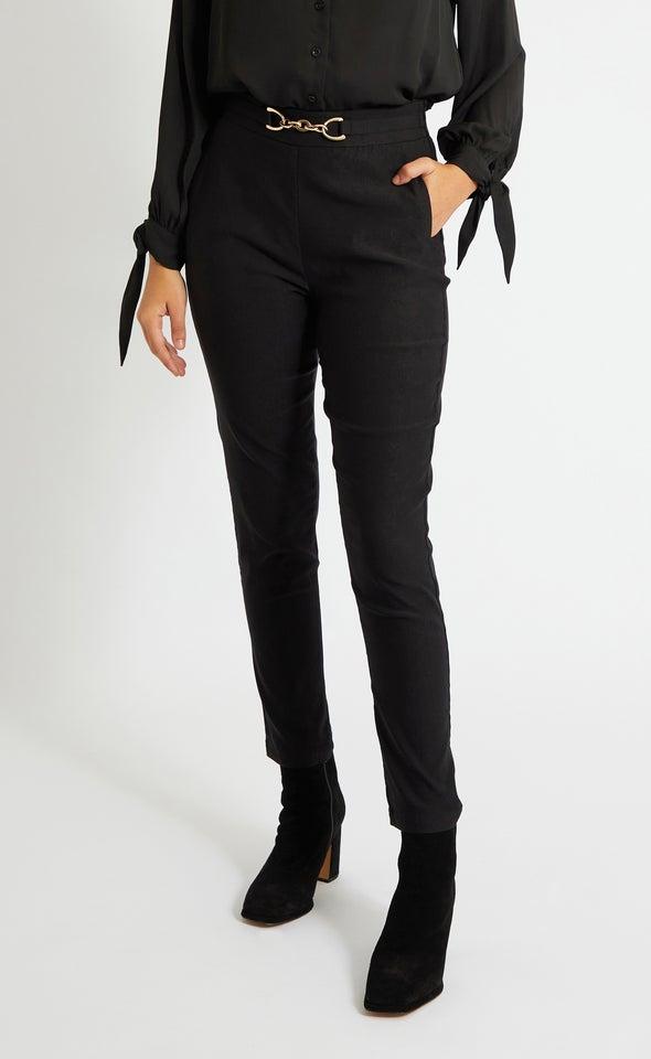 Buckle Trim Skinny Work Pants Black