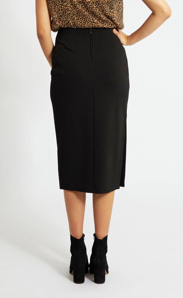 Buckle Waist Midi Skirt Black