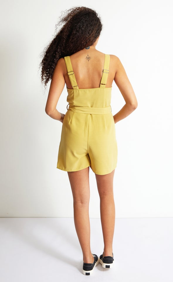 Button Front Playsuit Lime