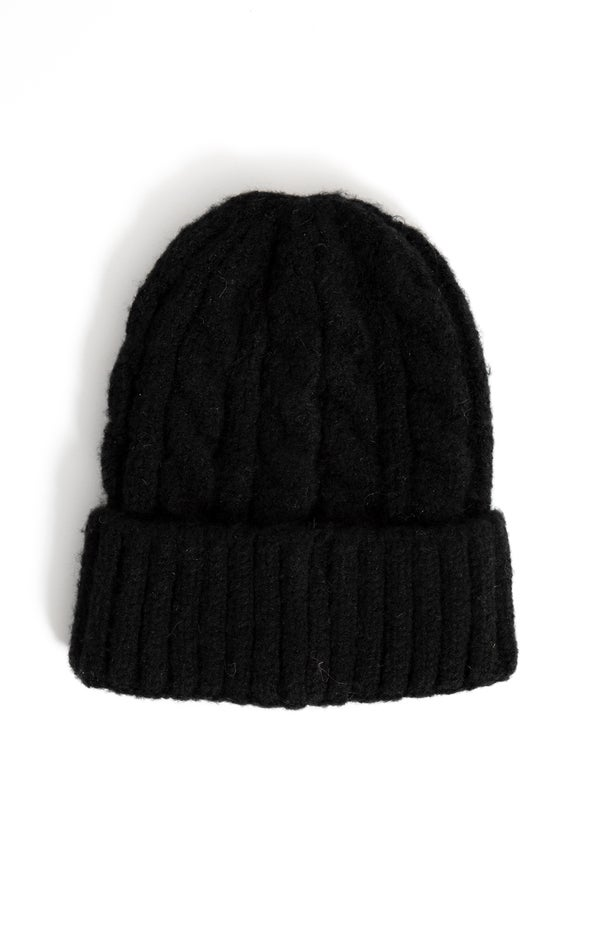 Cable Knit Beanie Black