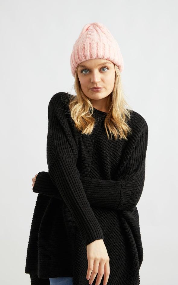 Cable Knit Beanie Blush