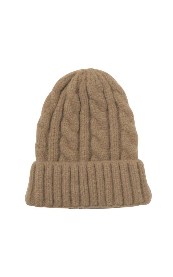 Cable Knit Beanie Camel