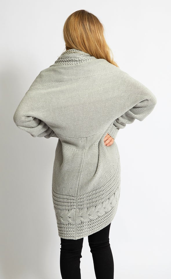 Cable Knit Cardi Grey Marle