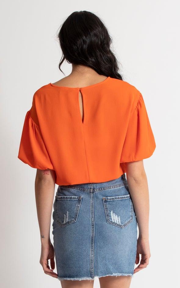 CDC Balloon Sleeve Crop Top Tangerine