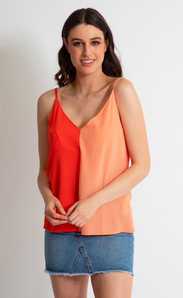 CDC Colour Block Cami Tangerine/peach