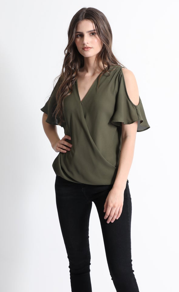 CDC Crossover Cold Shoulder Tee Khaki