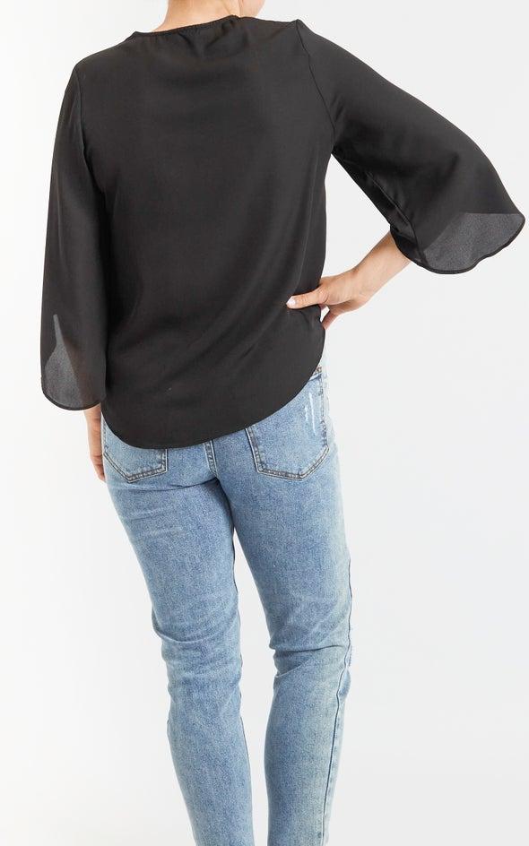 CDC Drape Built In Cami Tee Black