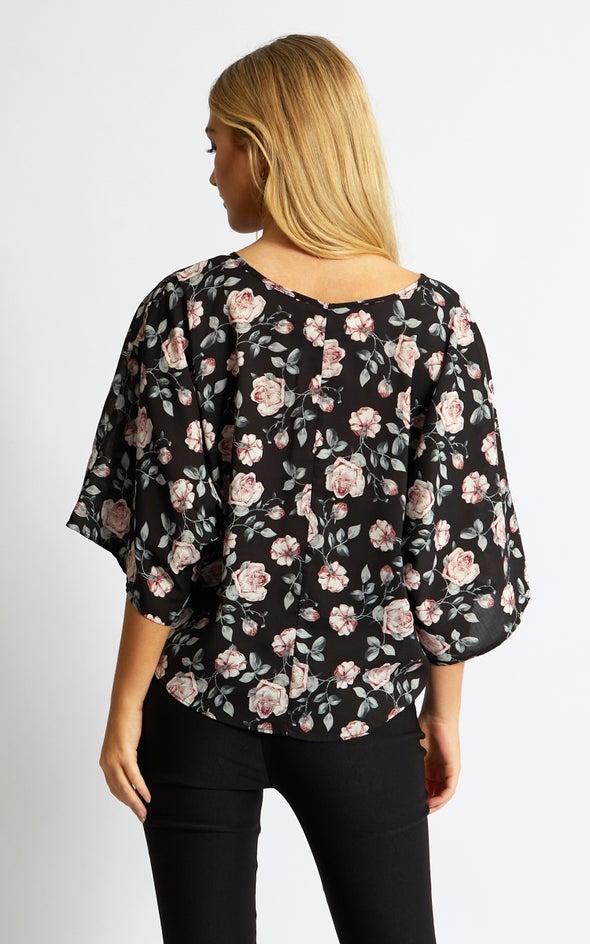 CDC Floral Batwing Top Black/blush