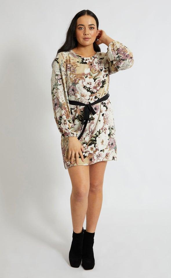 CDC Floral Print Shift Dress Beige/floral