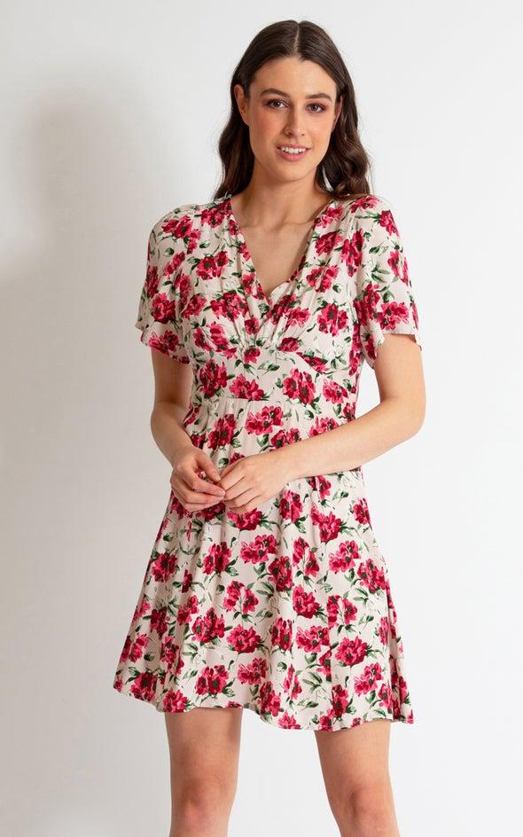 CDC Floral Tea Dress Beige/pink