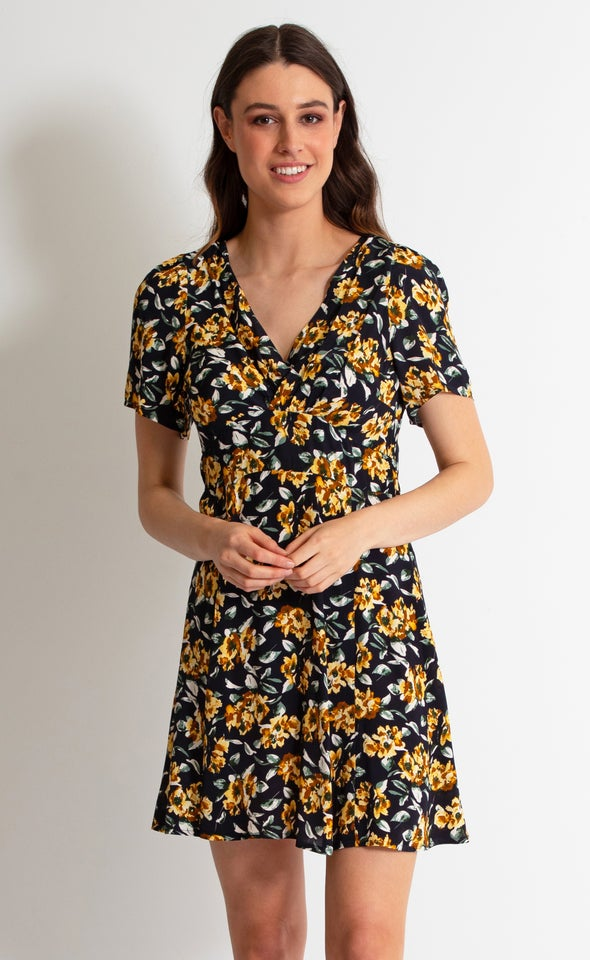 CDC Floral Tea Dress Navy/ochre