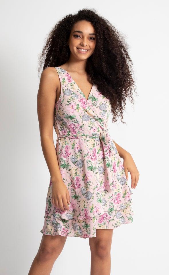 CDC Floral V Neck Skater Dress Blush/floral