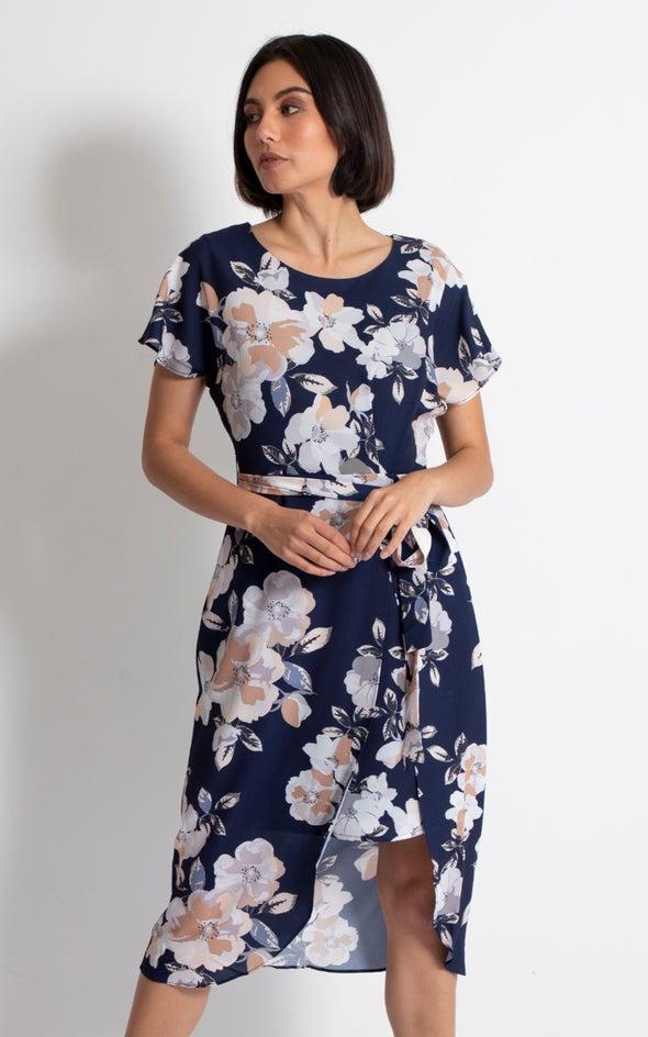CDC Floral Wrap Midi Dress Navy/floral