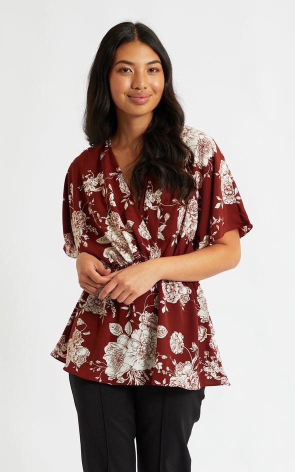 CDC Kimono Sleeve Top Terracotta/cream