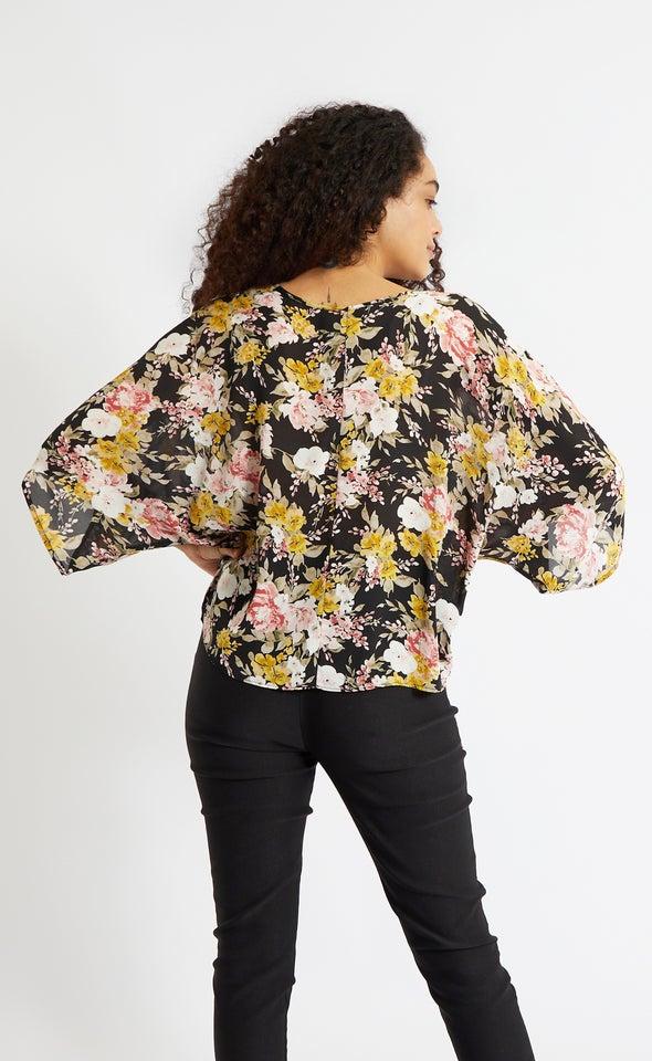 CDC Knot Hem Batwing Top Black/floral