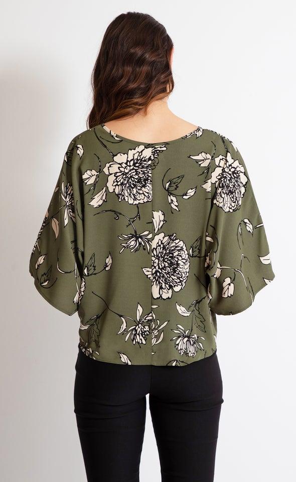 CDC Knot Hem Batwing Top Khaki/floral