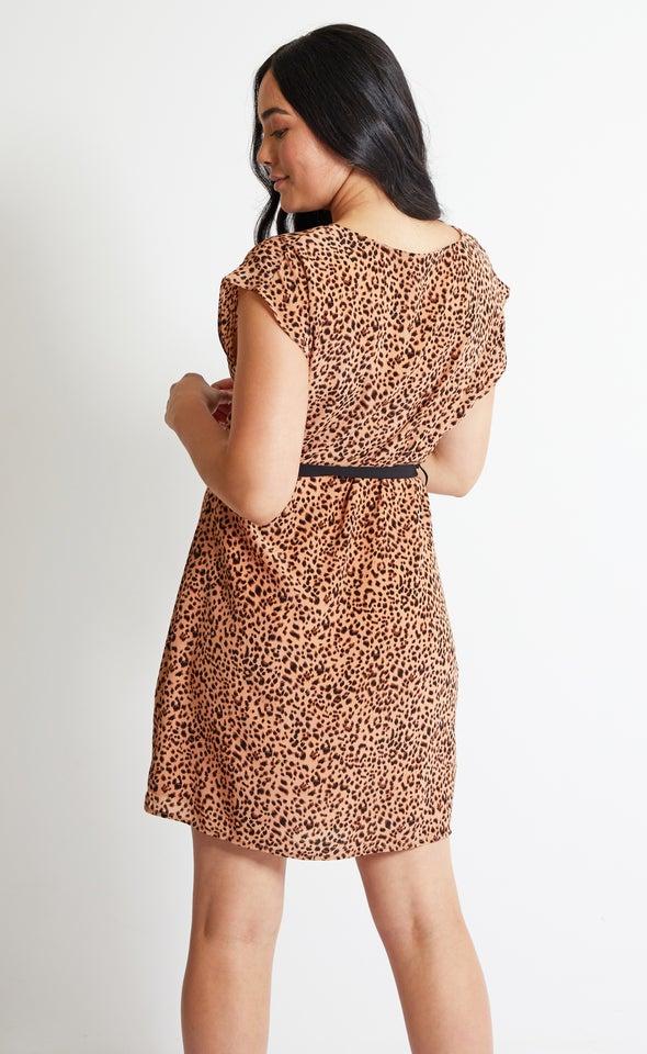 CDC Leopard Print Shift Dress Peach/black