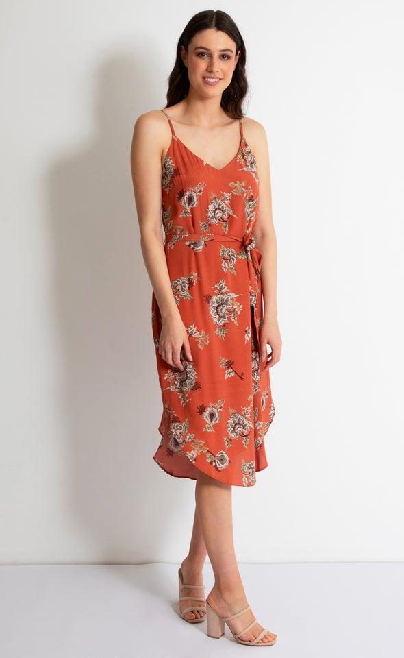 CDC Paisley Slip Midi Dress Rust/paisley