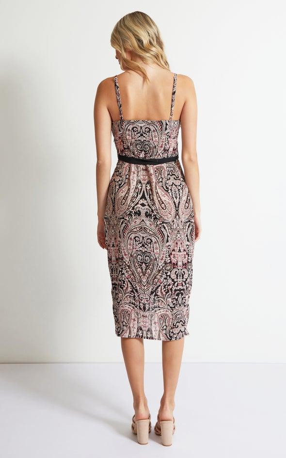 CDC Paisley Strappy Wrap Dress Blush/paisley