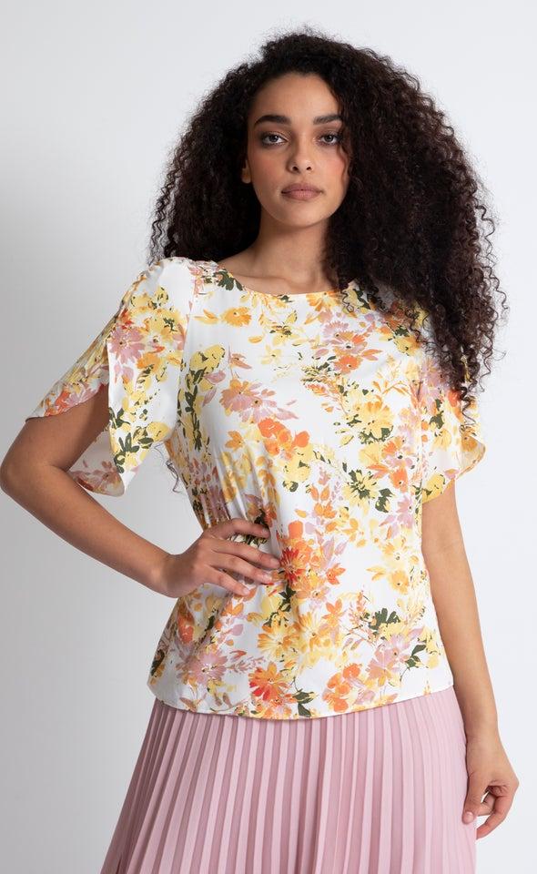CDC Petal Sleeve Top Cream/floral