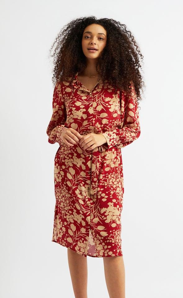 CDC Printed Midi Shirt Dress Maroon/tan