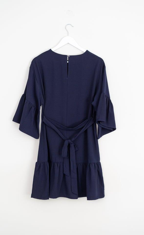 CDC Puff Sleeve Ruffle Dress Navy