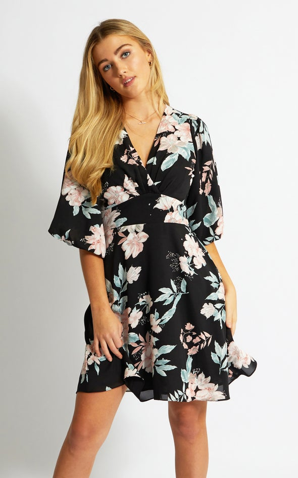 CDC Puff Sleeve Skater Dress Black/blush