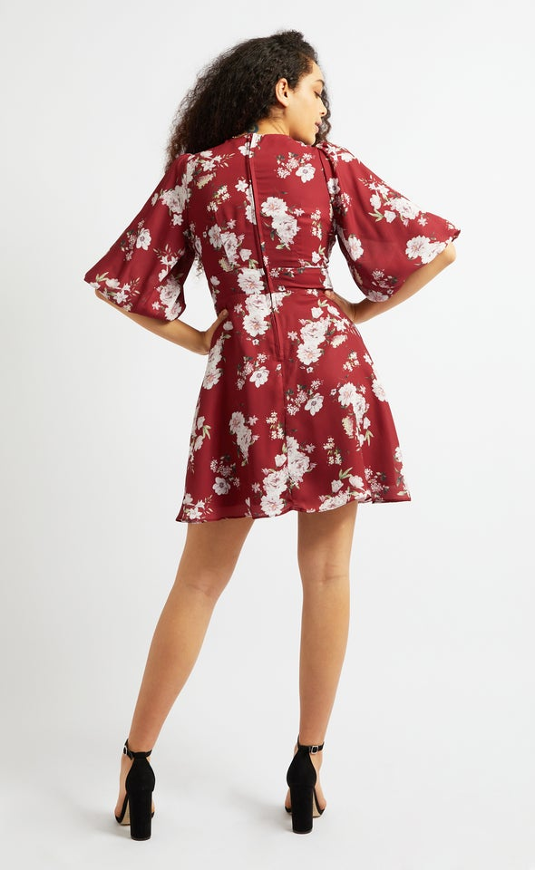 CDC Puff Sleeve Skater Dress Maroon/floral