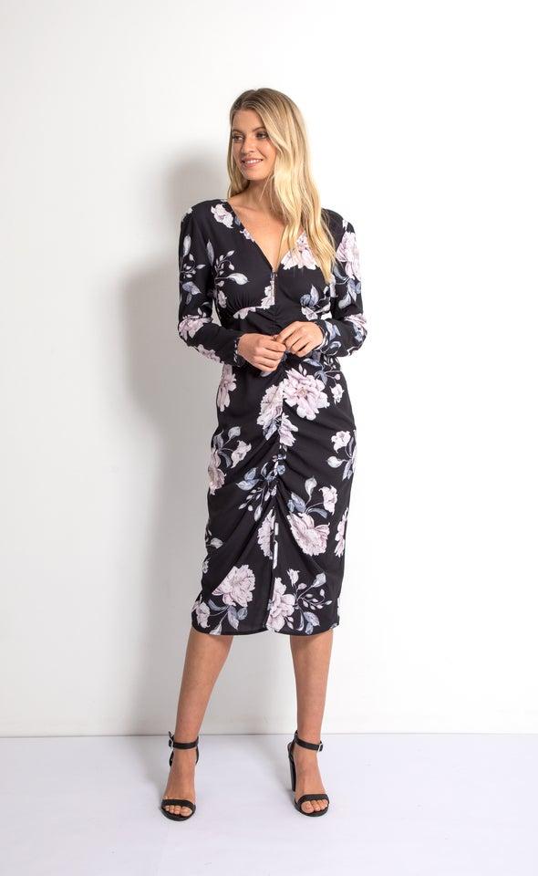 CDC Ruching Detail LS Dress Black/blush