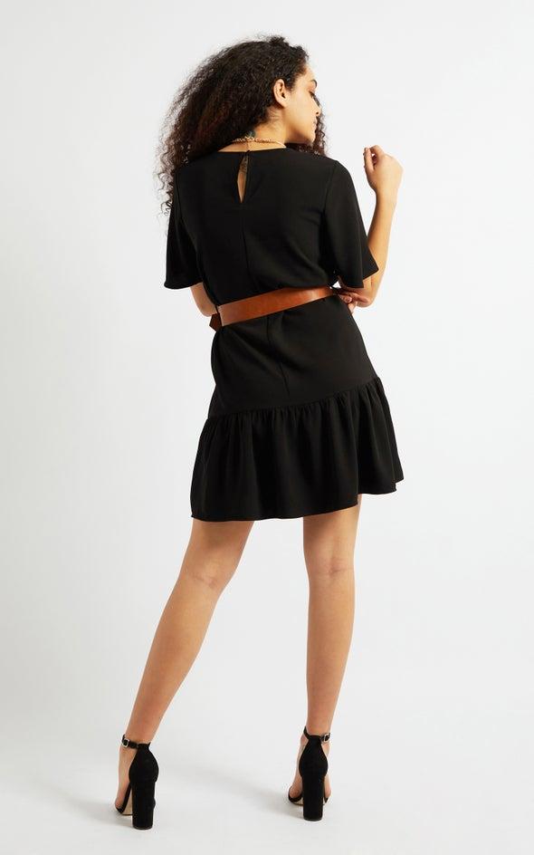 CDC Tan Belt Ruffle Hem Dress Black