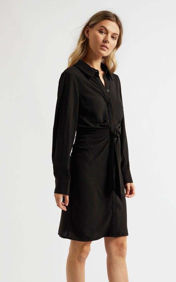 CDC Tie Front Shirt Dress Black