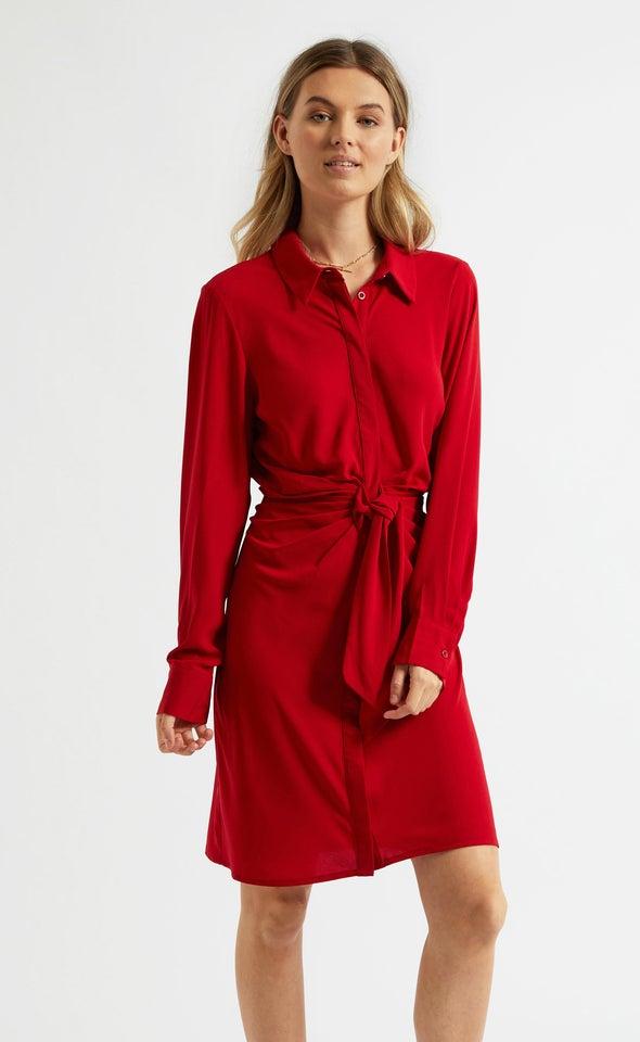 CDC Tie Front Shirt Dress Red Wine